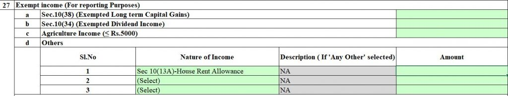 Where to fill HRA in ITR 1 AY 2018-19.